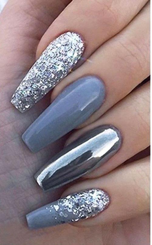 Silver False Nails