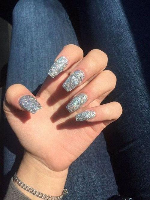 Acrylic Silver Nails