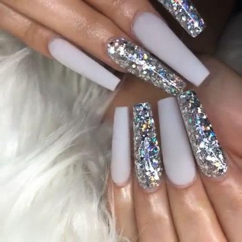Acrylic Nails Silver