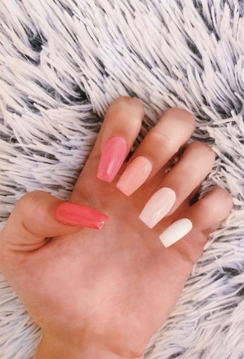 Mixed Color Acrylic Nails