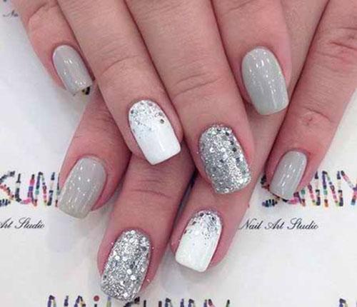 Silver Stripe Nails