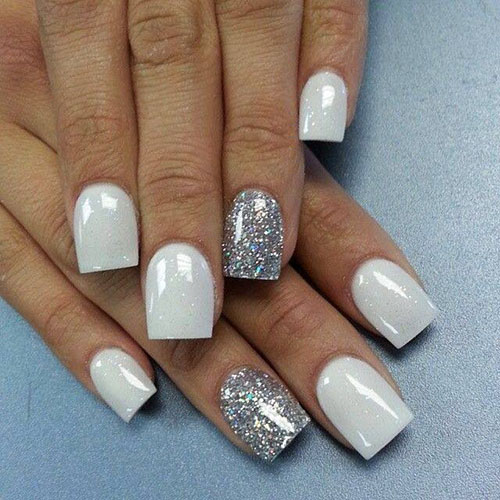 Acrylic Nails With Silver