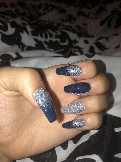 Silver Acrylic Nails