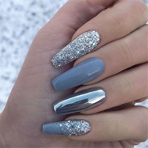 Champagne And Silver Nails