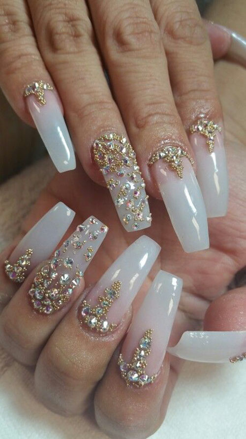 Nails With Diamonds On Them