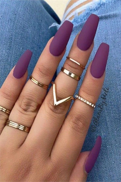 One Color Acrylic Nails