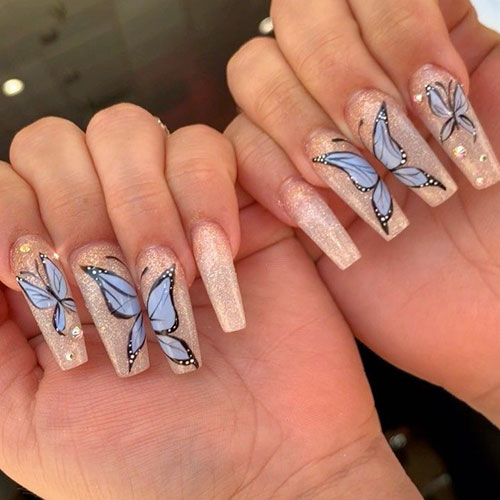 Long Curved Acrylic Nails