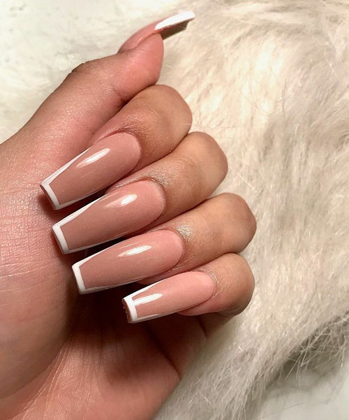 French Tip Nails Coffin